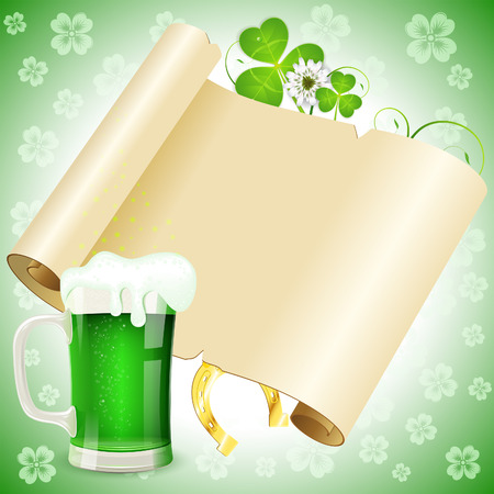 St. Patricks Day Poster with Manuscript, Glass of Beer, Horseshoe and Clover, vector Vector