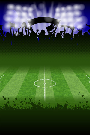 soccer fans: Soccer Poster with Fans and Field, vector