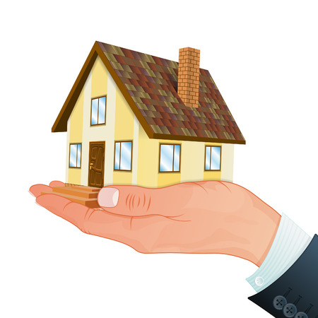 Real Estate Concept - Hand with House, vector isolated on white background Vector
