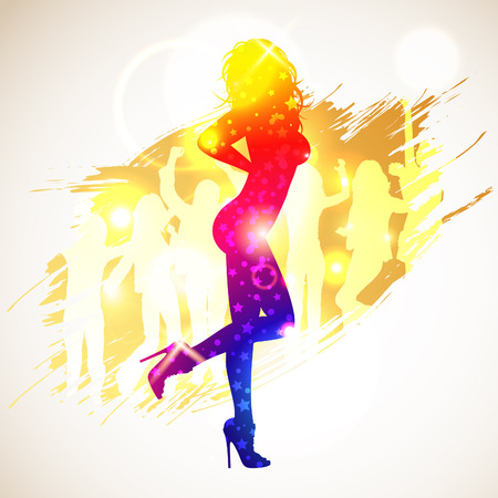Bright Rainbow Silhouette Sexy Girl and Dancers on grunge background, vector illustration Vector