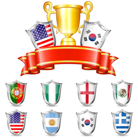 Soccer Collect with Flags, Ribbon, Trophy and Shields Vector