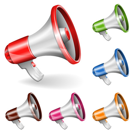 collect: Collect Megaphone isolated on white background Illustration