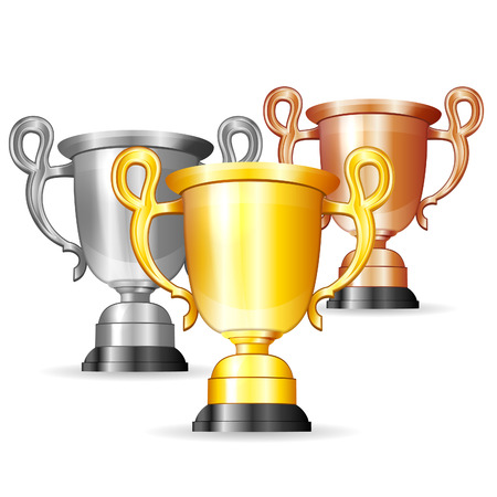 Set Gold, Silver and Bronze Trophies Vector