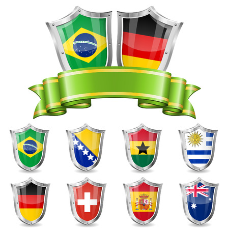 Soccer Collect with Flags, Ribbon and Shields Vector