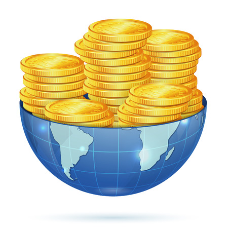 rouleau: Global Business Concept - Earth with Gold Coins Illustration