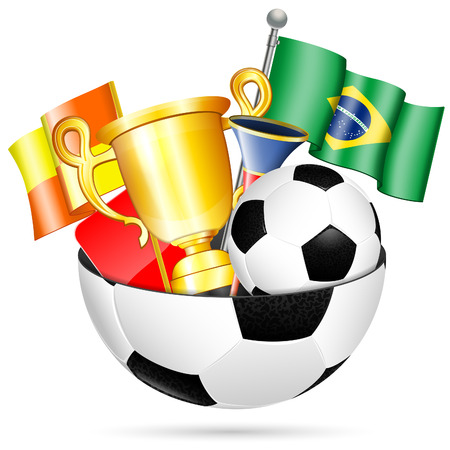 Soccer Concept - Football Ball with Brazil Flag, Ball, Cup and Vuvuzela Vector