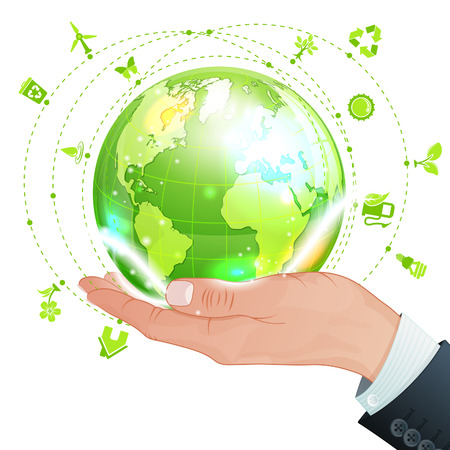 Hand with Earth and lot Environments Icons, vector isolated on white background Vector