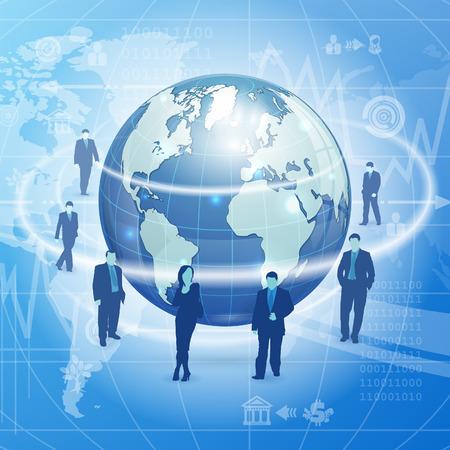 globális üzleti: Globális üzleti koncepció Földön, üzleti sziluettek és ikonok, vektoros illusztráció absztrakt háttér Illusztráció