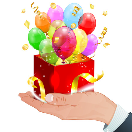 Birthday Concept - Hand with Gift Box, Transparent Balloons and Streamer, vector isolated on white background Vector