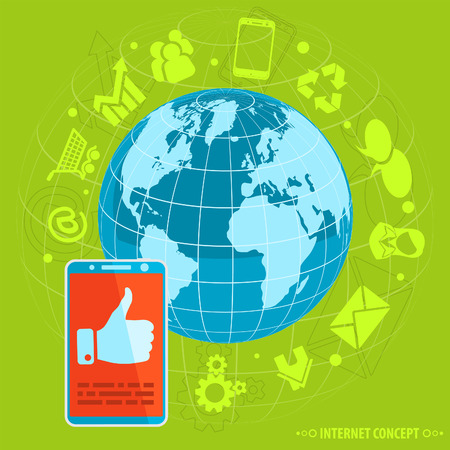 Internet Concept with Flat Design Icons for Social Media, vector Vector