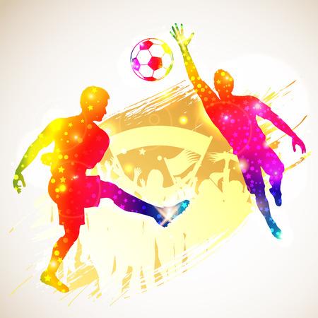 arquero futbol: Silueta del jugador de fútbol, ??de portero y aficionados en el fondo del grunge, ilustración vectorial