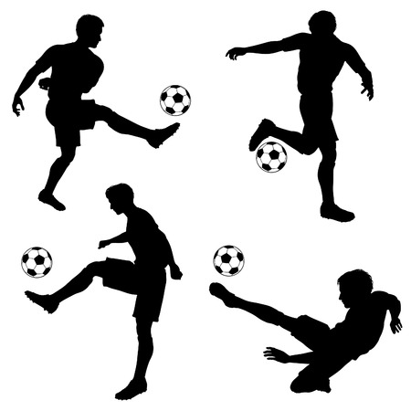 Set of Silhouettes of Soccer Players in various Poses with the Ball, vector isolated on white background Vector