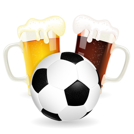 Soccer Poster with Ball and Glasses of Beer, vector isolated on white Vector