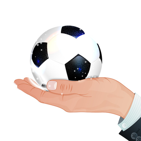 Hand with Soccer Ball, vector isolated on white background Vector