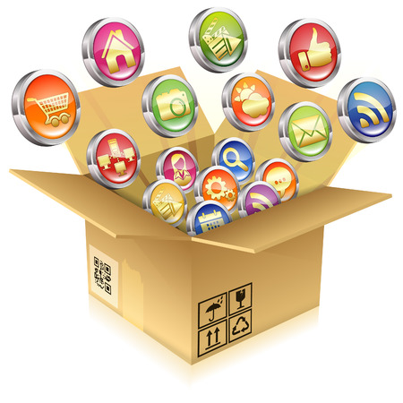 Open Cardboard Box with a set of icons, vector isolated on white background Vector