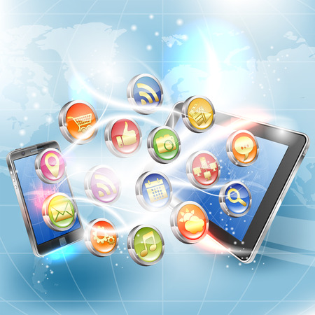Business Concept with Tablet PC, Smartphone and Application icons, vector illustration Vector