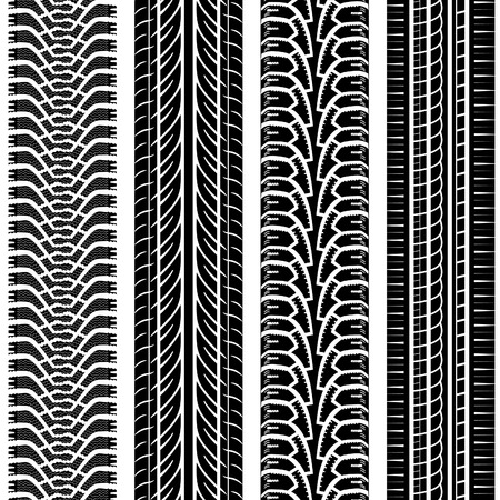 tire print: Collect Detailed Tire Tracks, vector isolated on white background