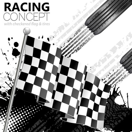 Racing Concept - Flags, Tires and Tracks, grunge vector background Illustration