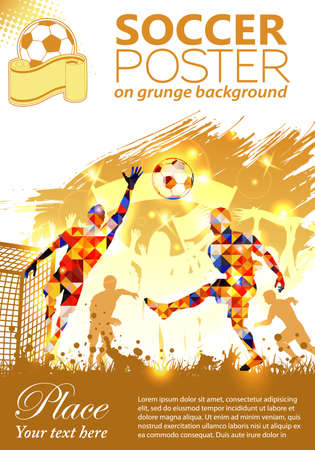 soccer icon: Soccer Poster with Players and Fans on grunge background, vector illustration Illustration