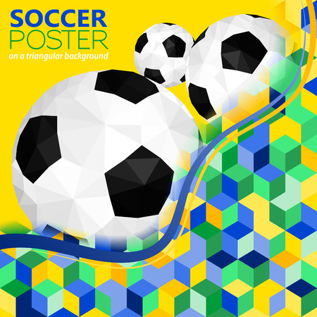 Soccer Background with Balls and Mosaic Pattern in Color Flag Brazil, vector Vector