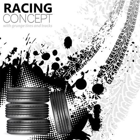 rally car: Racing Concept - Tires and Tracks, grunge vector background Illustration