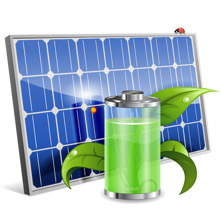 panels: Green Energy Concept with Solar Panel, Battery and Young Sprout, vector isolated on white background