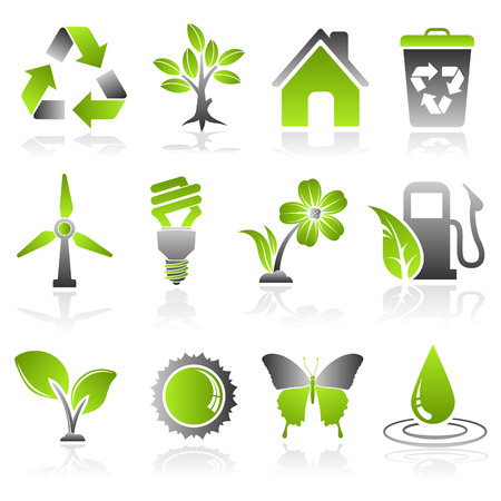 collect: Collect Environment Icon with Tree, Leaf, Light Bulb, Recycling Symbol, vector isolated on white background