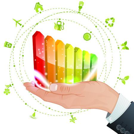 eficiencia energetica: Mano con Rentabilidad Energ�tica y mucho Entornos iconos, vector aislado en el fondo blanco Vectores