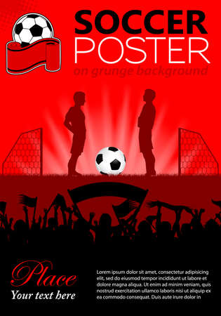 soccer fans: Soccer Poster with Players and Fans, vector illustration Illustration