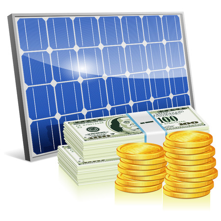 Save Energy Concept with Solar Panel and Money, vector isolated on white background Vector
