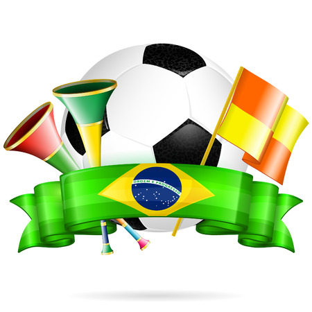 Soccer Poster with Soccer Ball, Flags, vuvuzela and Ribbon in Color Flag Brazil, vector isolated on white background Vector