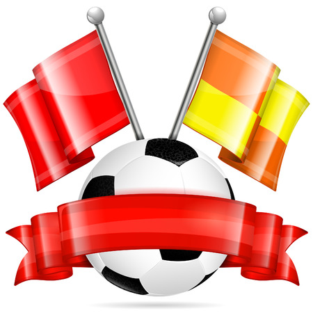 Soccer Poster with Soccer Ball, Flags and Ribbon, vector isolated on white background Vector