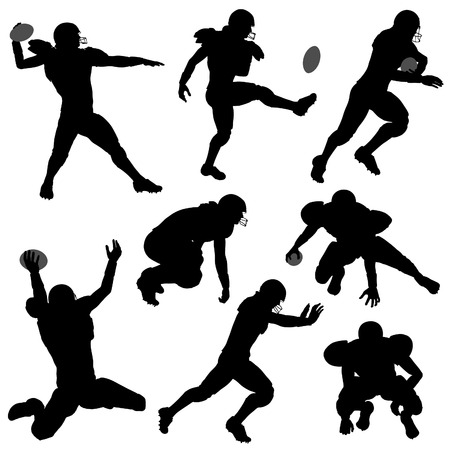 american football helmet set: Set of Silhouettes of American Football Players in various Poses with the Ball, vector isolated on white background