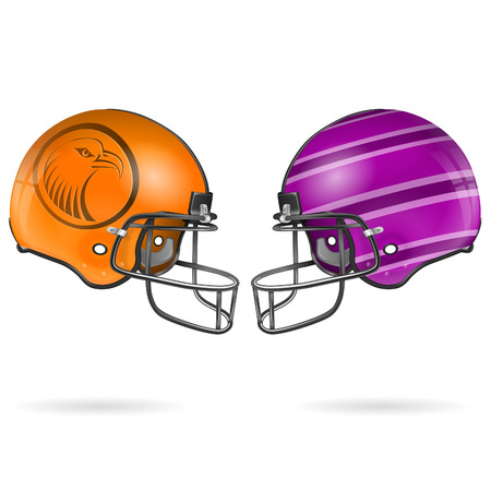 collect: Collect Detailed American Football Helmets, easy to change colors, vector isolated on white background