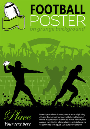 man in field: American Football with Players and Fans on grunge background, element for design, vector illustration