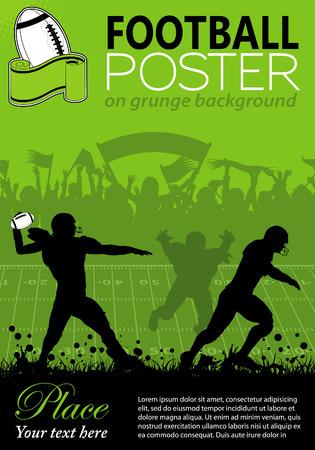 pelota rugby: Fútbol americano con jugadores y los aficionados en el fondo del grunge, elementos para el diseño, ilustración vectorial