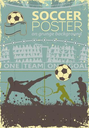 Poster di calcio con giocatori e tifosi in colori retr� su sfondo grunge, illustrazione vettoriale Vettoriali