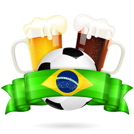 beer pint: Soccer Poster with Ball, Glasses of Beer and Ribbon in Color Flag Brazil, vector isolated on white