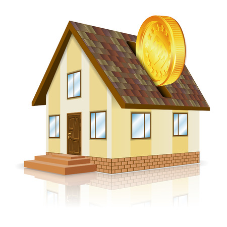 Real Estate Concept - House and Gold Coin, isolated on white background Vector