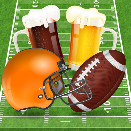 football american: American Football Poster with Helmet, Ball, Field and Glasses of Beer, vector