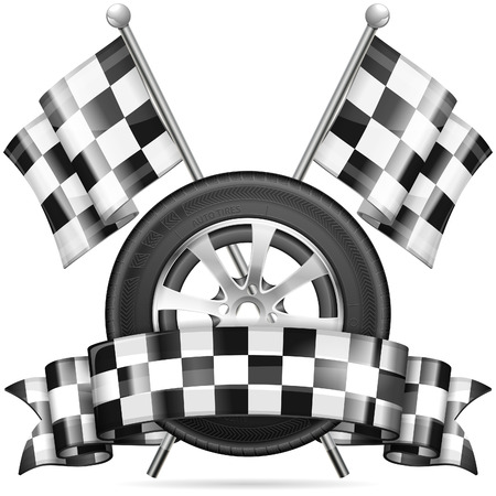 racing checkered flag: Racing Concept - Tire with Flags and Ribbon