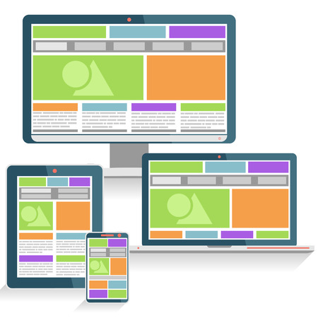 notebook design: Responsive Web Design Concept on various devices in Modern Flat Style
