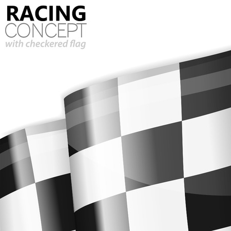 Concept - Winner. Racing Checkered Flag Finish, vector isolated on white background