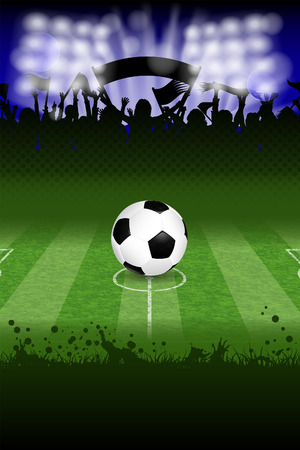 soccer fans: Soccer Poster with Ball and Fans, vector Illustration