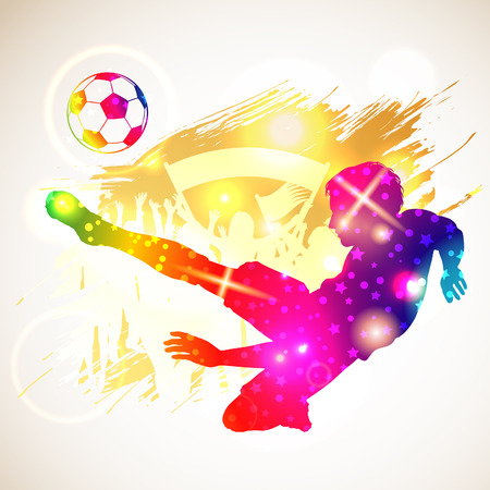 soccer fans: Bright Rainbow Silhouette Soccer Player and Fans on grunge background, vector illustration
