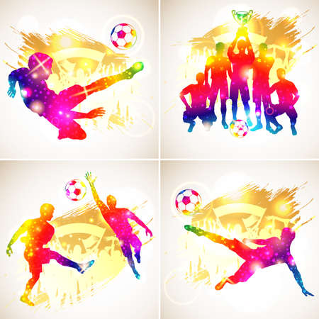 football trophy: Bright Rainbow Silhouette Soccer Players, Goalkeeper, Team Champion with Cup, Fans on grunge background