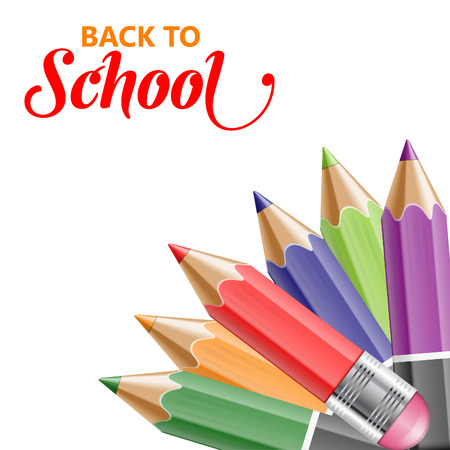 colored pencil: Back to School Concept - Colored Pencils isolated on white background. Easy to change color. Illustration