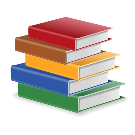 Back to School Concept - Stack of Colored Books, isolated on white background. Easy to change color.