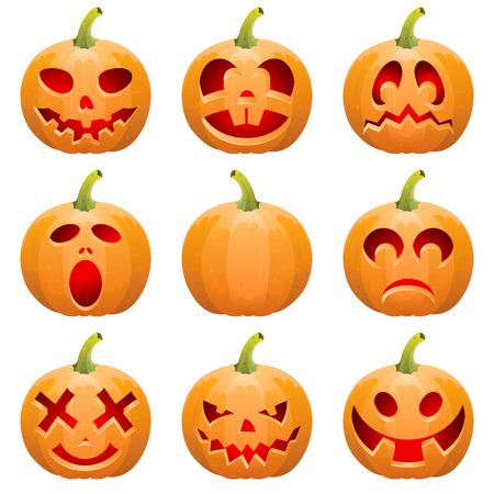 Big collect Halloween pumpkin Jack OLantern, isolated on white background Vector