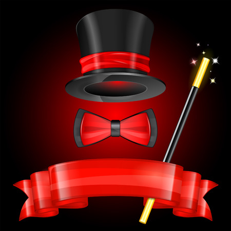Magician Hat with Magician Wand, Bow Tie and Ribbon Vector